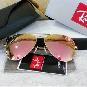 Ray bans 3025 aviators rose gold sunglasses 58mm